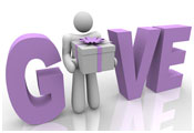 Image of character carrying a present with the word GIVE