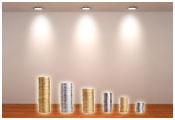Image of stacks of coins under spotlights