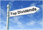 Top dividend sign on flag pole
