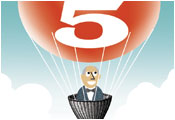Man in hot air balloon with number 5 printed on balloon